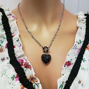 Rhinestones Heart  Necklace.